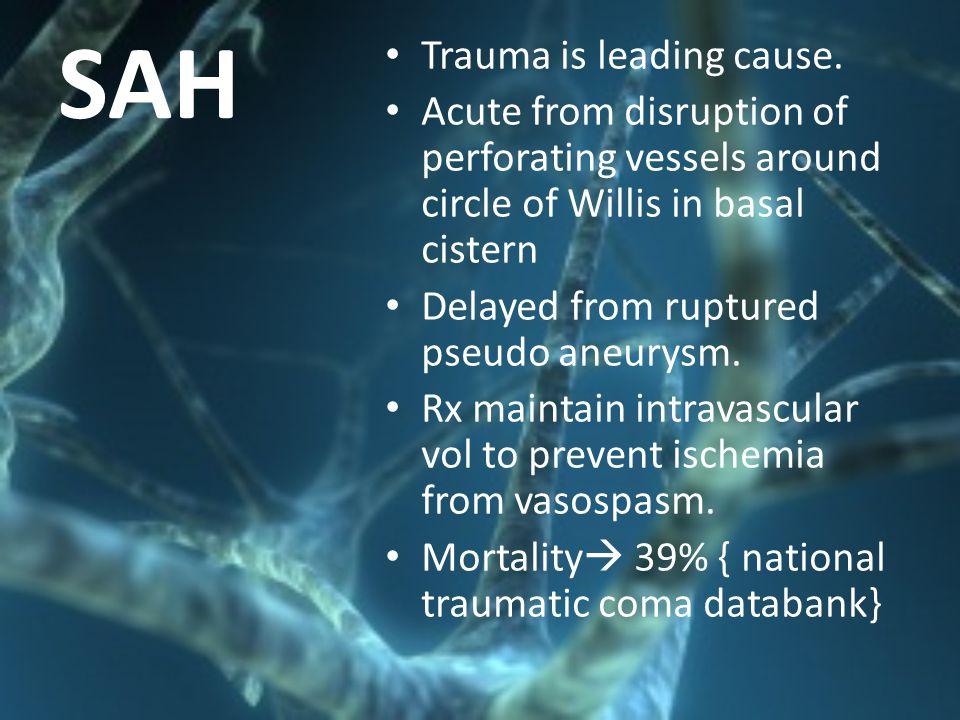 SAH Trauma is leading cause.