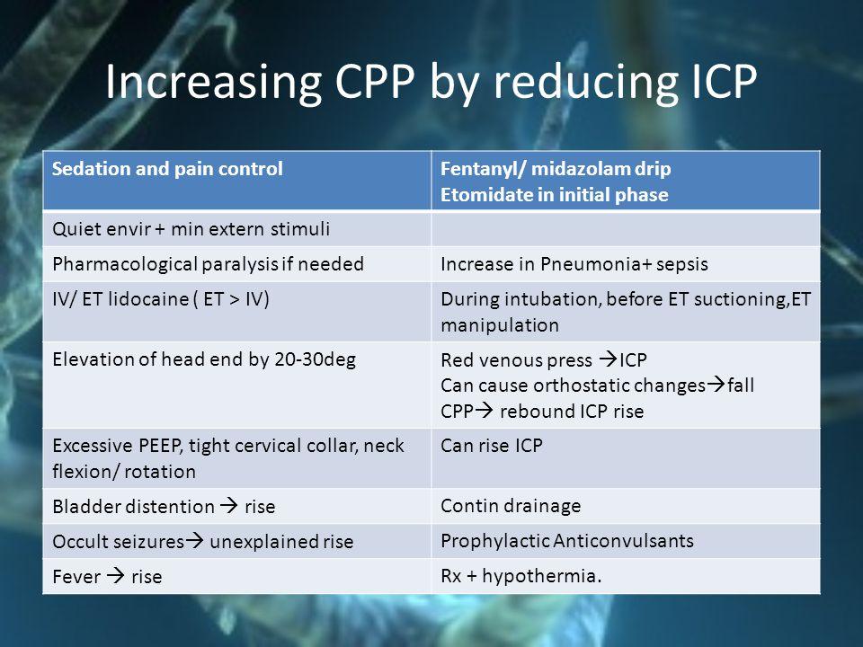 Increasing CPP by reducing ICP