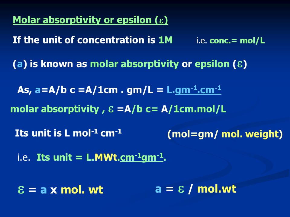  = a x mol. wt a =  / mol.wt Molar absorptivity or epsilon ()