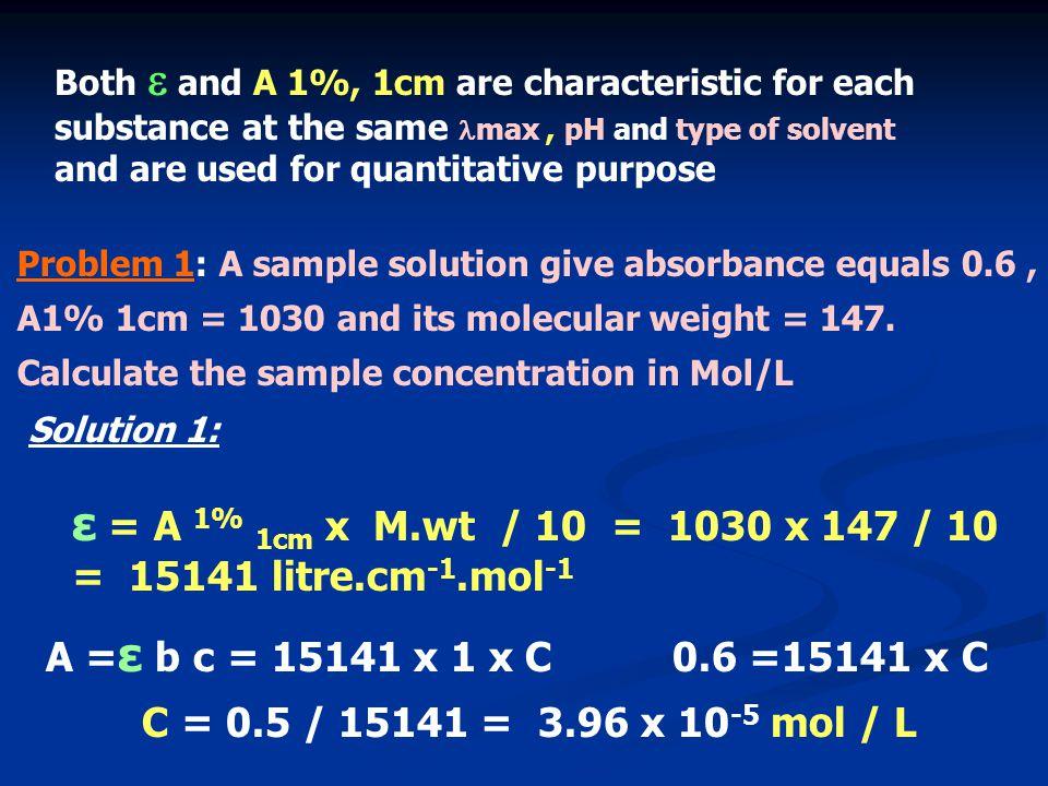 ε = A 1% 1cm x M.wt / 10 = 1030 x 147 / 10 = 15141 litre.cm-1.mol-1