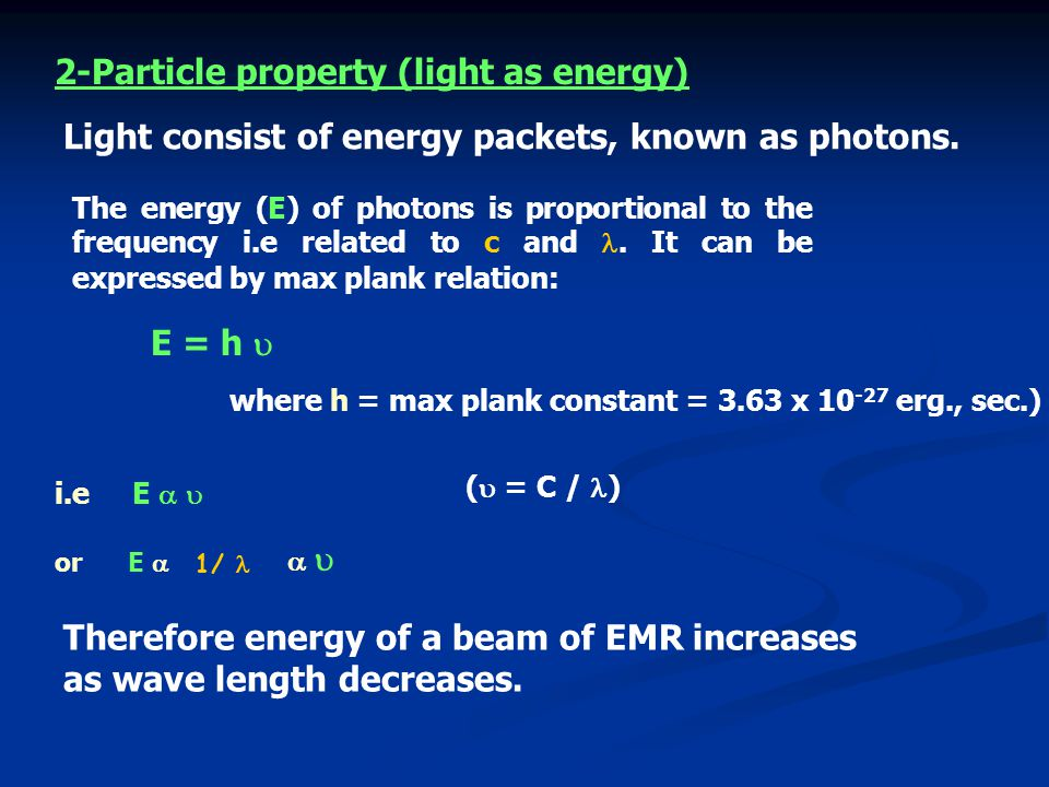 2-Particle property (light as energy)