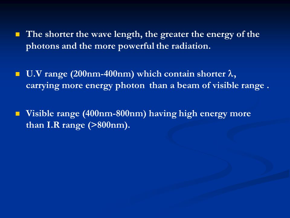 The shorter the wave length, the greater the energy of the photons and the more powerful the radiation.