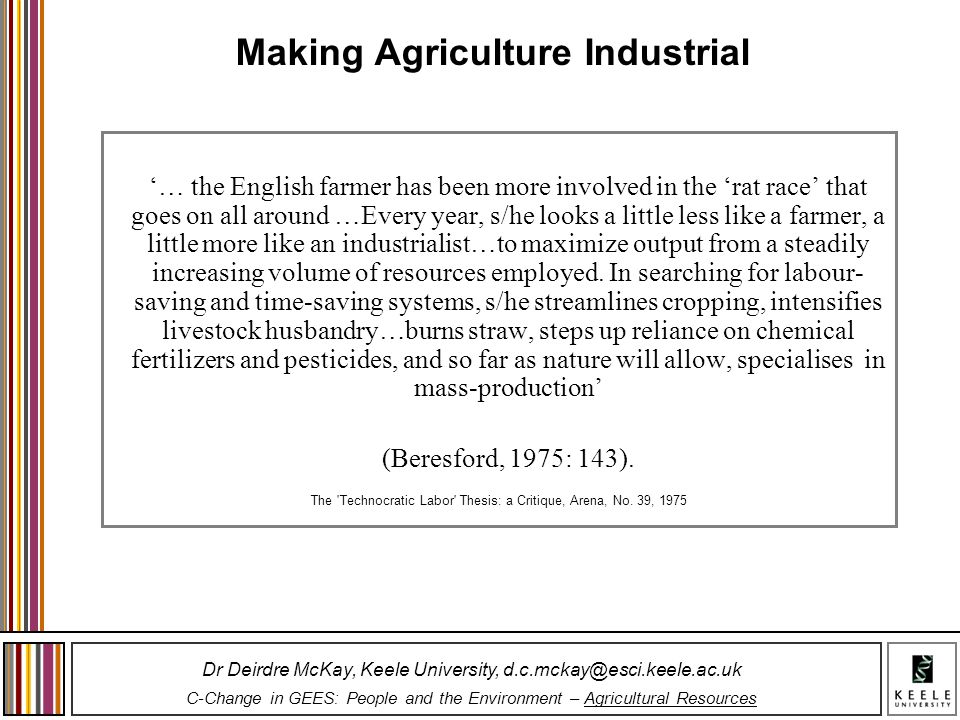 Making Agriculture Industrial