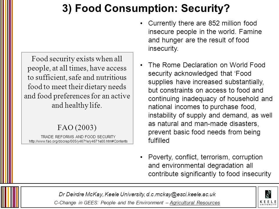 3) Food Consumption: Security