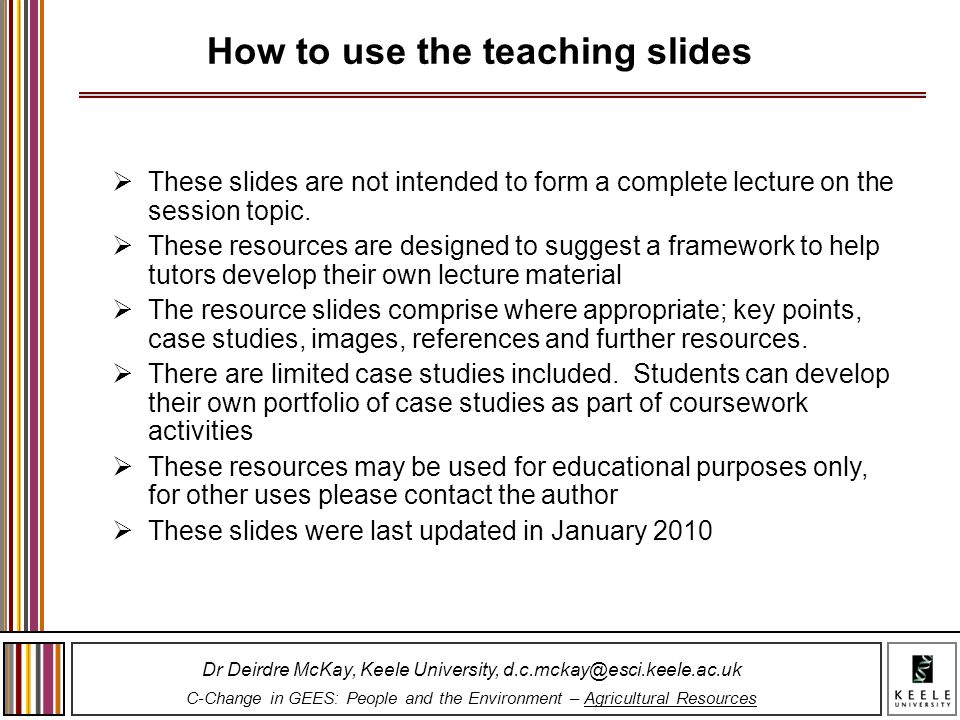 How to use the teaching slides
