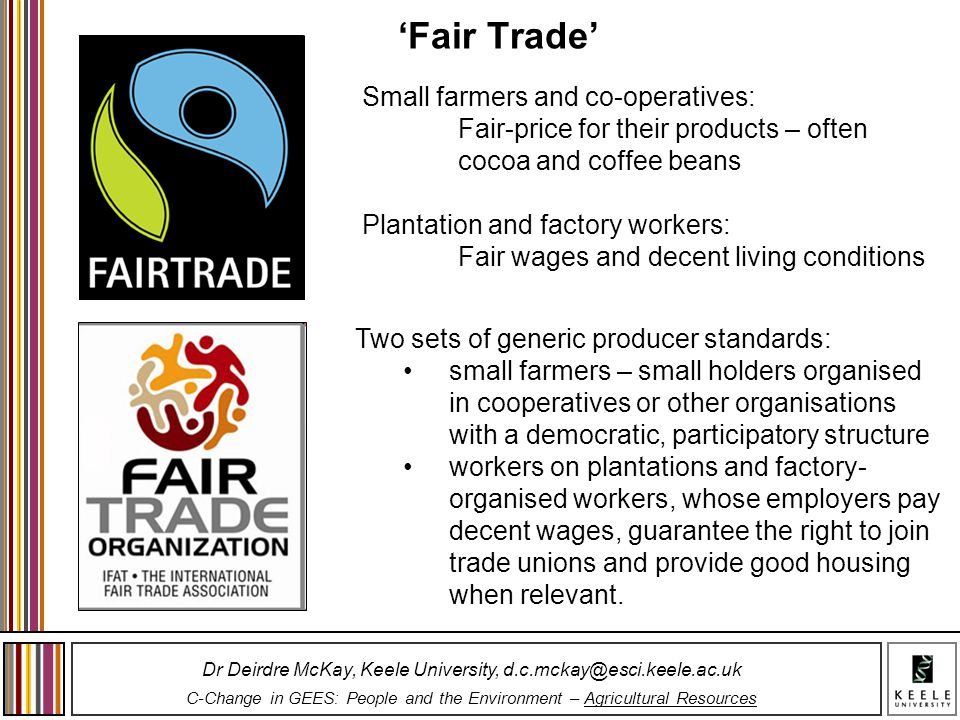 'Fair Trade' Small farmers and co-operatives: