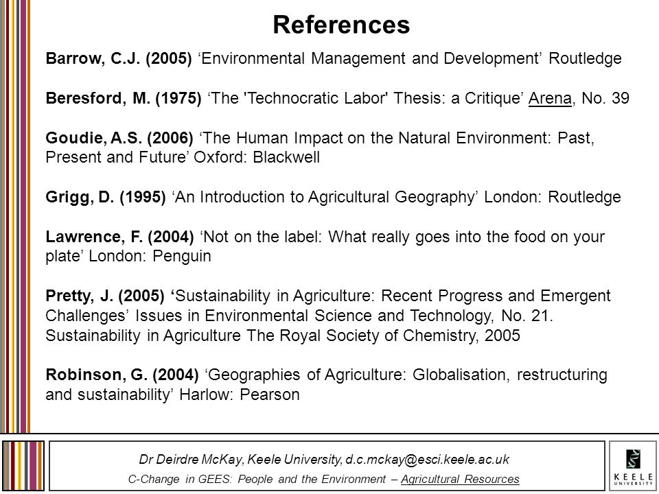 References Barrow, C.J. (2005) 'Environmental Management and Development' Routledge.