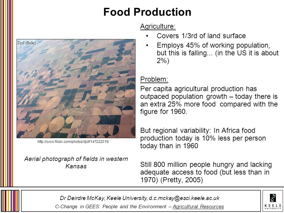 Food Production Agriculture: Covers 1/3rd of land surface