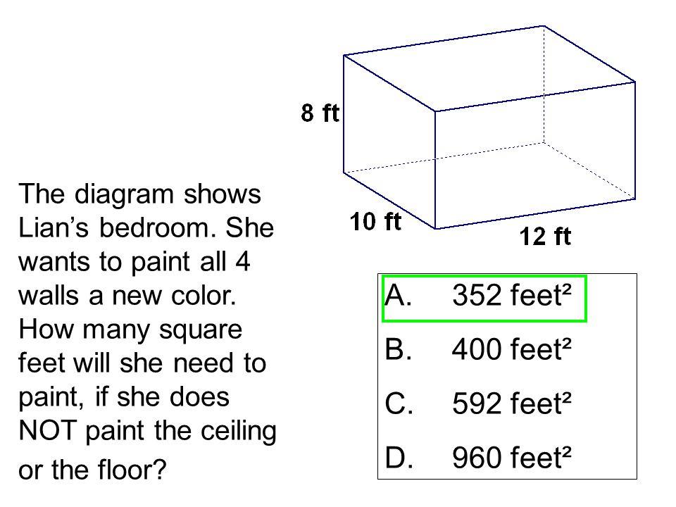 A. 352 feet² B. 400 feet² C. 592 feet² D. 960 feet²