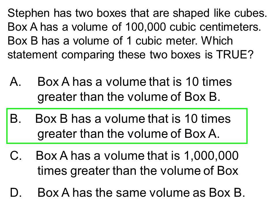 D. Box A has the same volume as Box B.