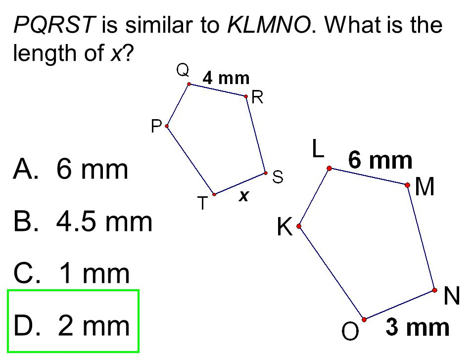 PQRST is similar to KLMNO. What is the length of x