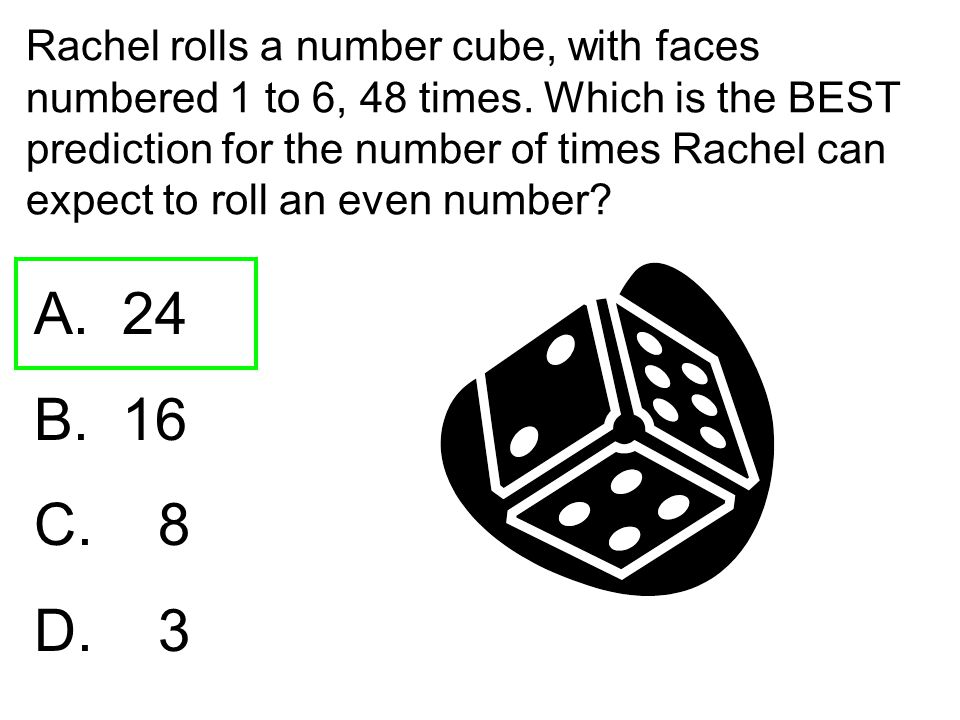 Rachel rolls a number cube, with faces numbered 1 to 6, 48 times