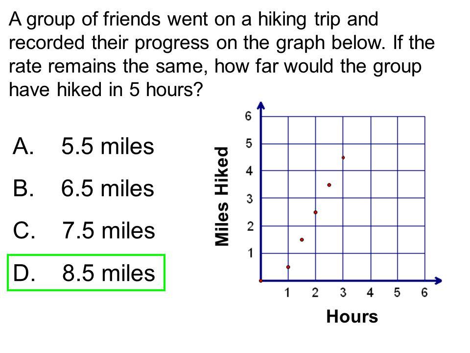 A. 5.5 miles B. 6.5 miles C. 7.5 miles D. 8.5 miles