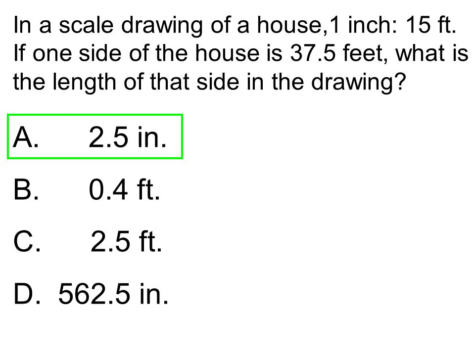 In a scale drawing of a house,1 inch: 15 ft