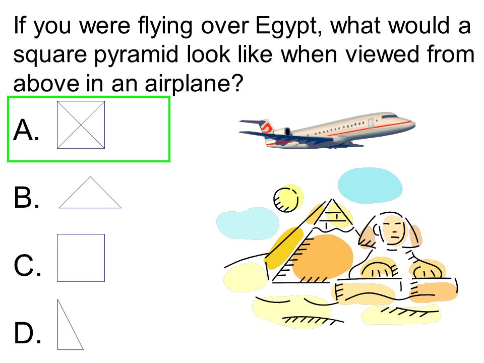 If you were flying over Egypt, what would a square pyramid look like when viewed from above in an airplane