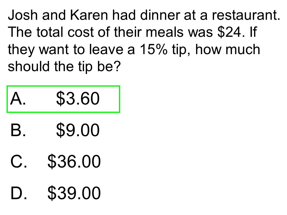 Josh and Karen had dinner at a restaurant