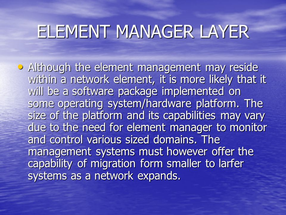 ELEMENT MANAGER LAYER