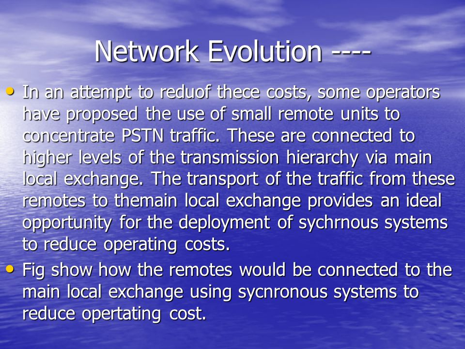 Network Evolution ----