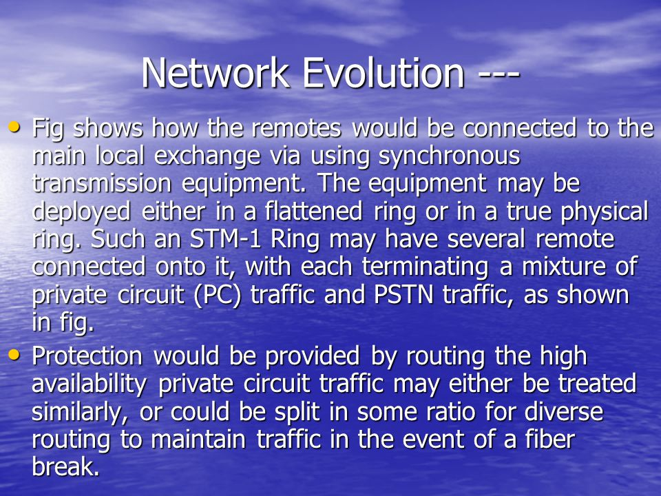 Network Evolution ---