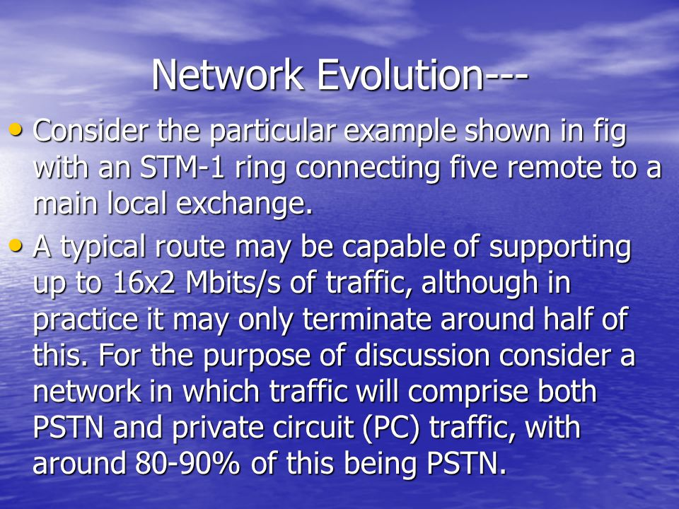 Network Evolution--- Consider the particular example shown in fig with an STM-1 ring connecting five remote to a main local exchange.