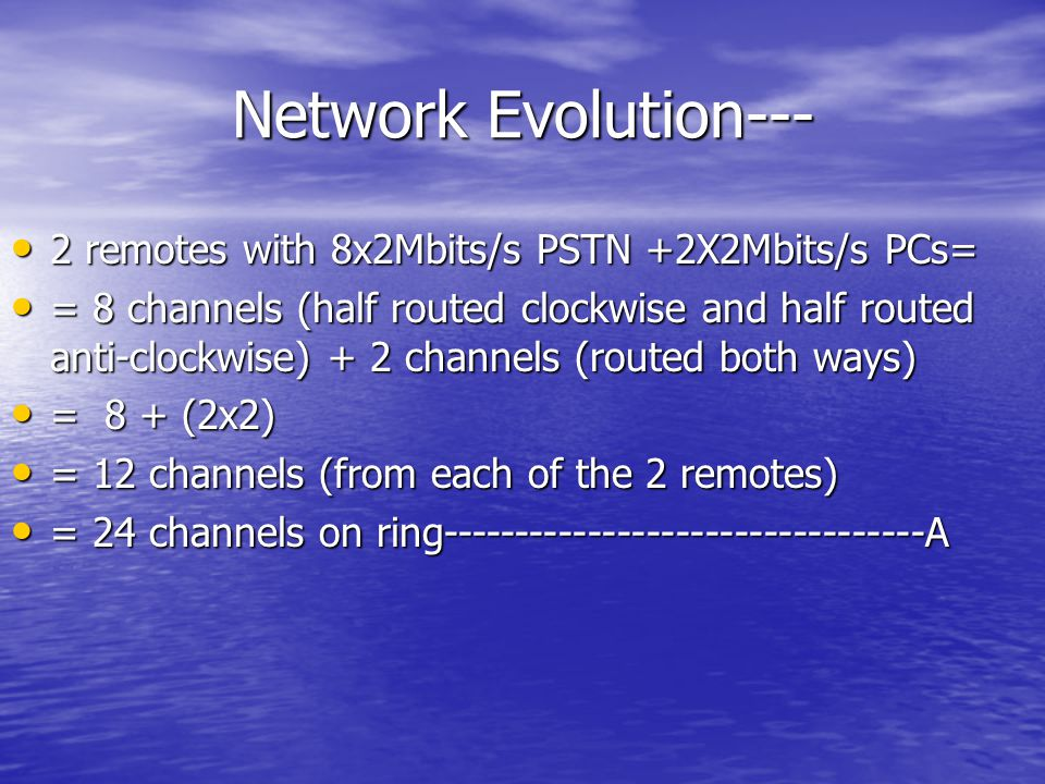 Network Evolution--- 2 remotes with 8x2Mbits/s PSTN +2X2Mbits/s PCs=