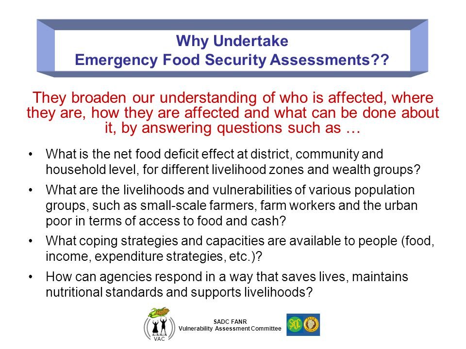 Emergency Food Security Assessments