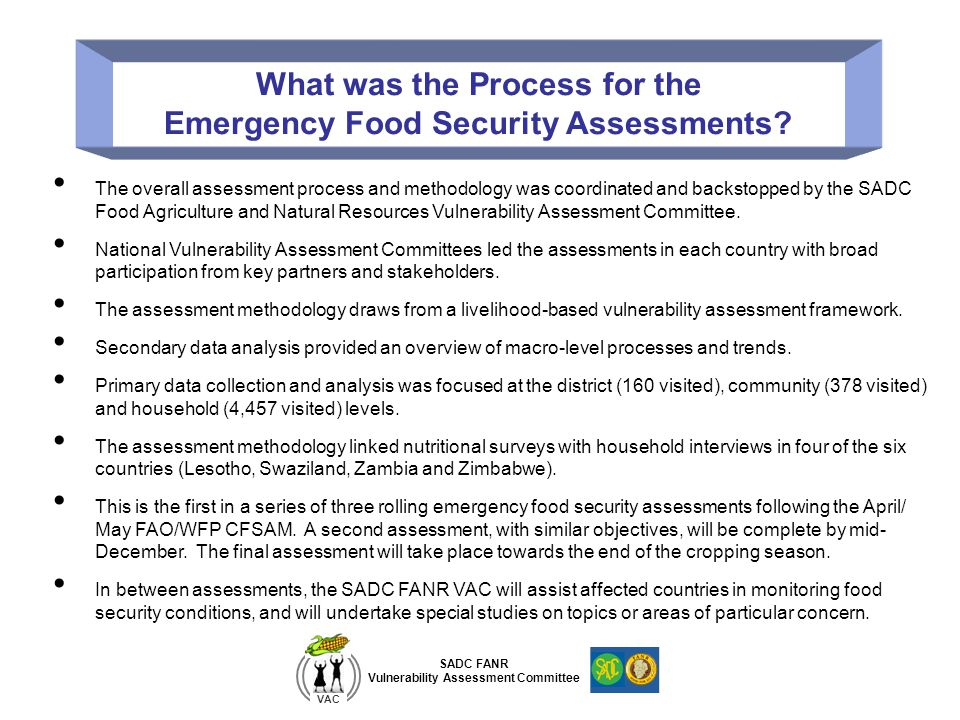 What was the Process for the Emergency Food Security Assessments