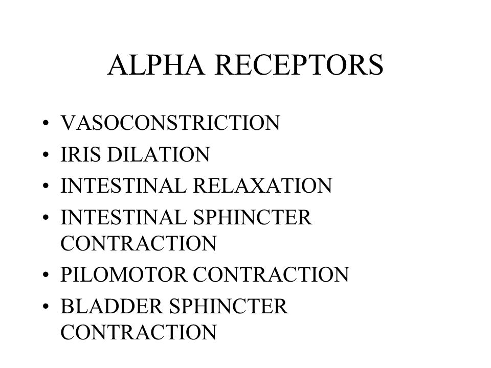 ALPHA RECEPTORS VASOCONSTRICTION IRIS DILATION INTESTINAL RELAXATION