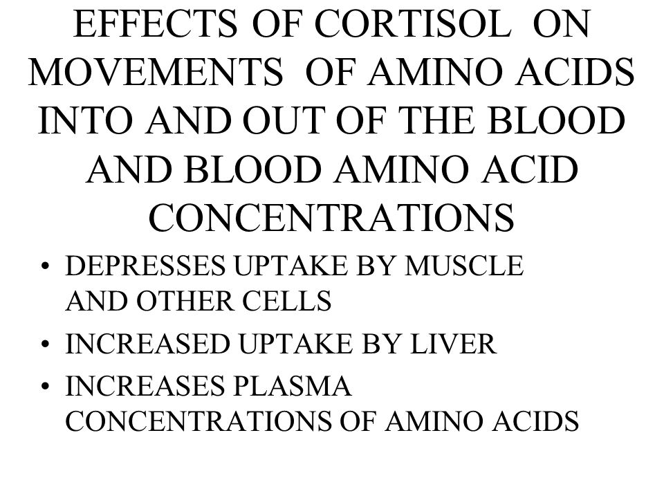 EFFECTS OF CORTISOL ON MOVEMENTS OF AMINO ACIDS INTO AND OUT OF THE BLOOD AND BLOOD AMINO ACID CONCENTRATIONS