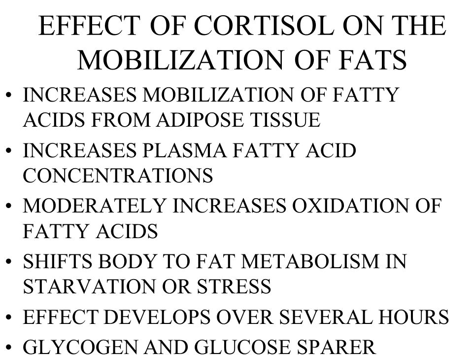 EFFECT OF CORTISOL ON THE MOBILIZATION OF FATS