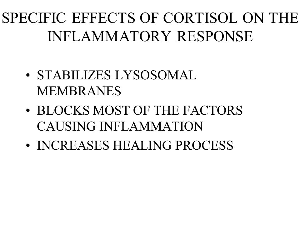 SPECIFIC EFFECTS OF CORTISOL ON THE INFLAMMATORY RESPONSE
