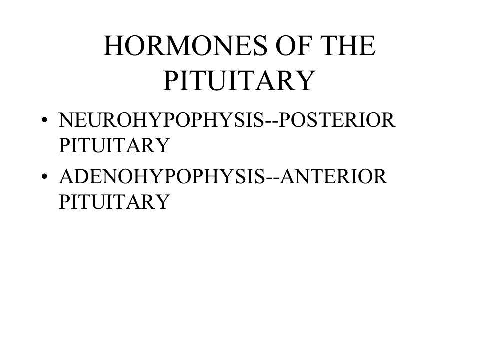HORMONES OF THE PITUITARY
