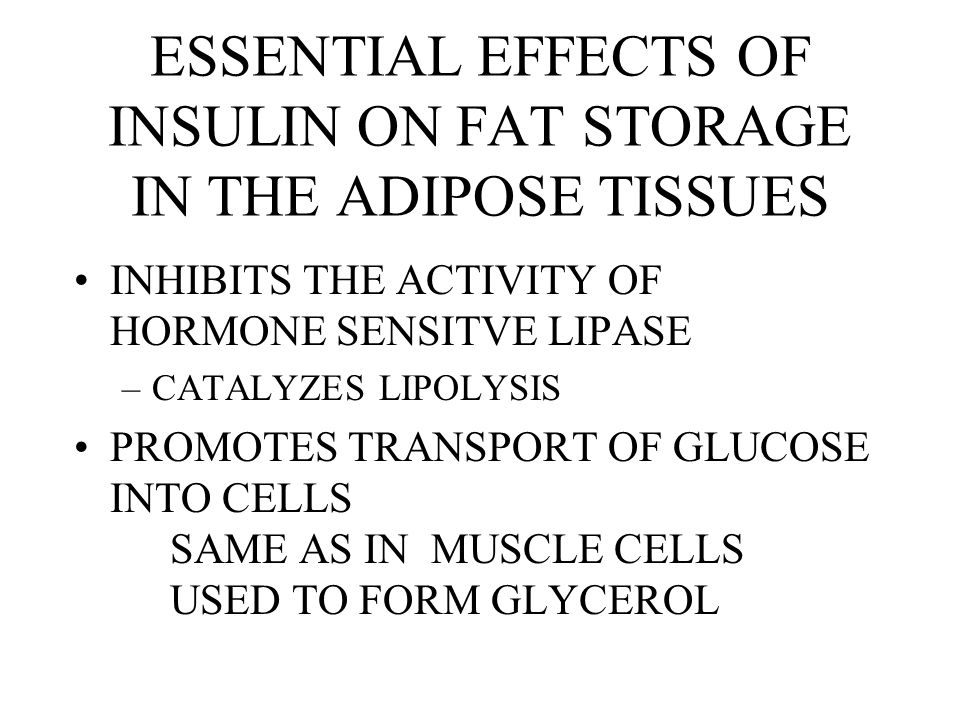 ESSENTIAL EFFECTS OF INSULIN ON FAT STORAGE IN THE ADIPOSE TISSUES