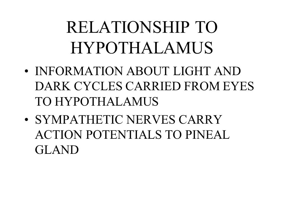 RELATIONSHIP TO HYPOTHALAMUS