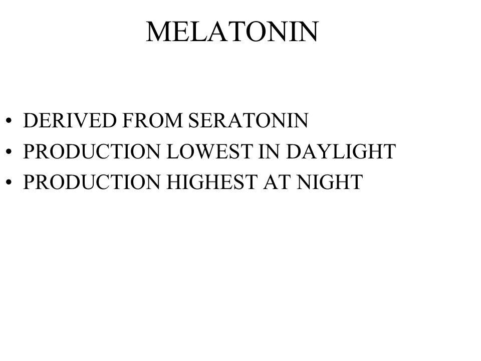 MELATONIN DERIVED FROM SERATONIN PRODUCTION LOWEST IN DAYLIGHT