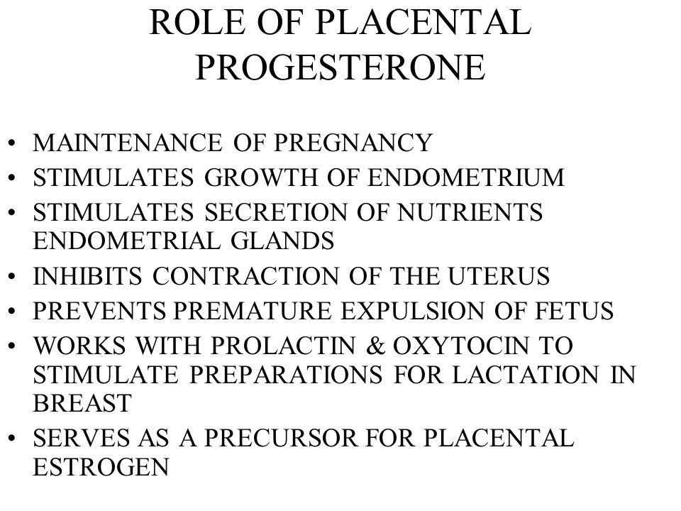 ROLE OF PLACENTAL PROGESTERONE