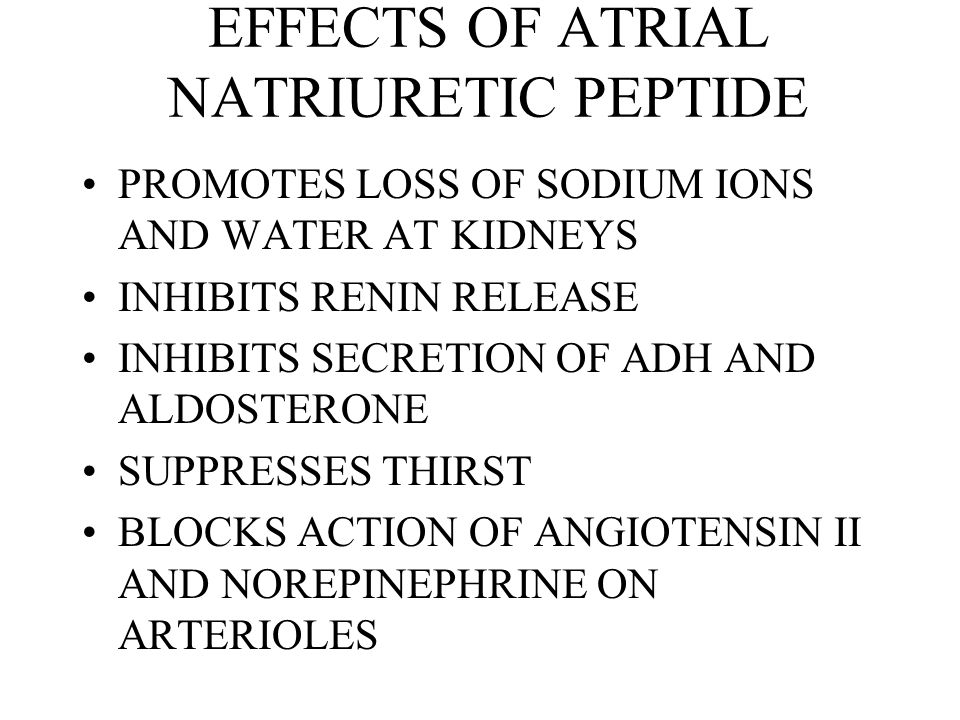 EFFECTS OF ATRIAL NATRIURETIC PEPTIDE