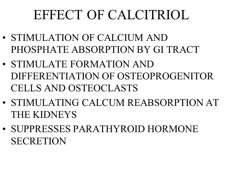 EFFECT OF CALCITRIOL STIMULATION OF CALCIUM AND PHOSPHATE ABSORPTION BY GI TRACT.