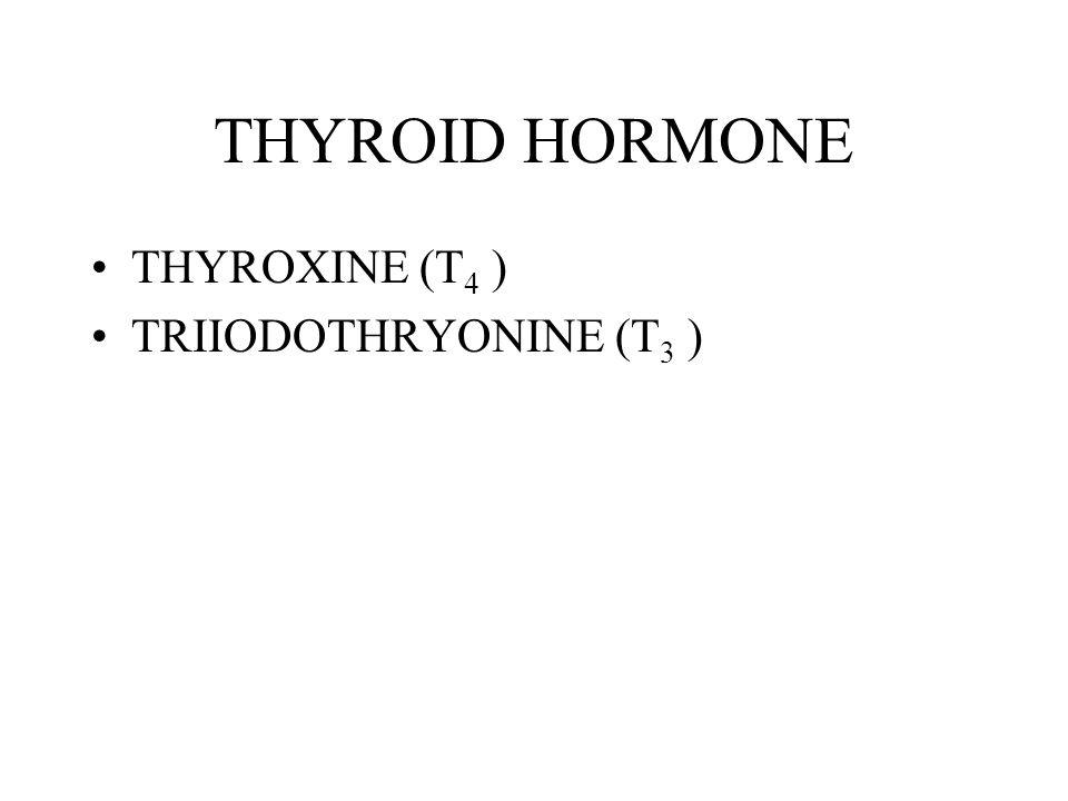 THYROID HORMONE THYROXINE (T4 ) TRIIODOTHRYONINE (T3 )
