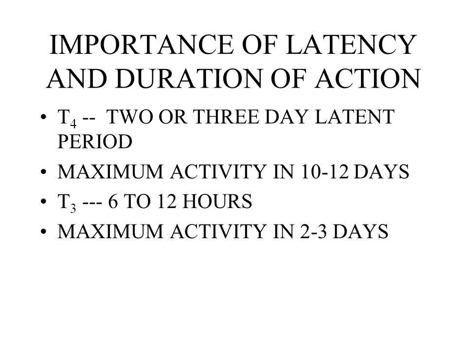 IMPORTANCE OF LATENCY AND DURATION OF ACTION