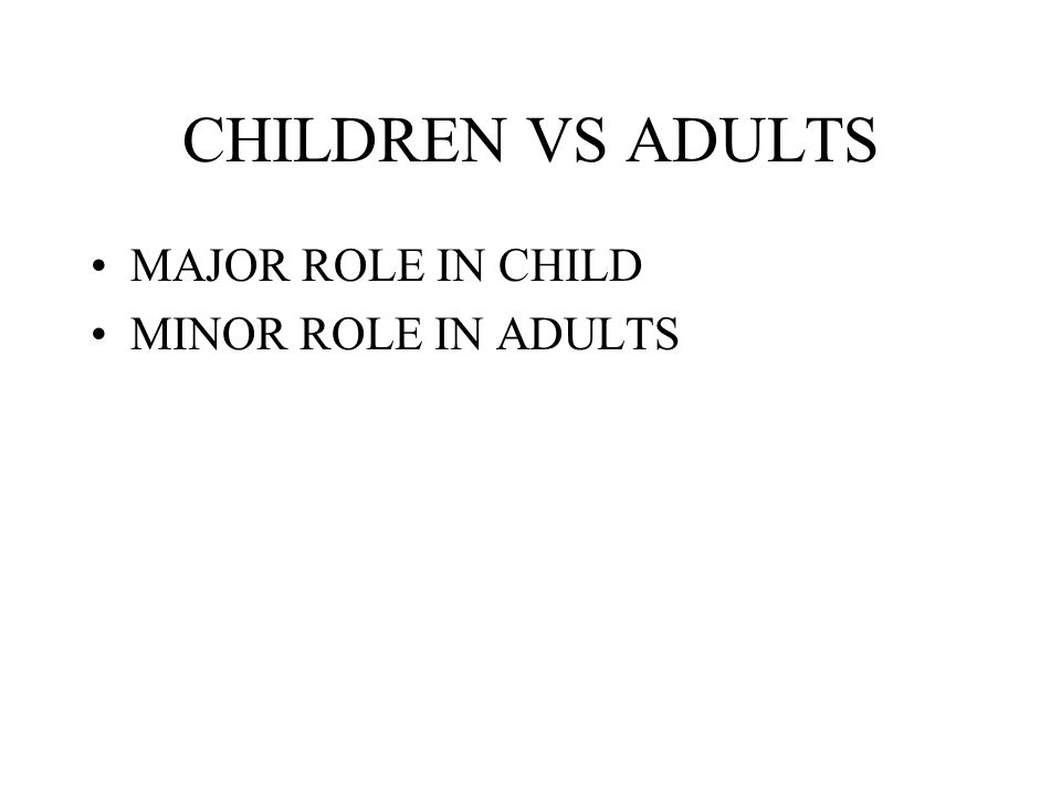 CHILDREN VS ADULTS MAJOR ROLE IN CHILD MINOR ROLE IN ADULTS