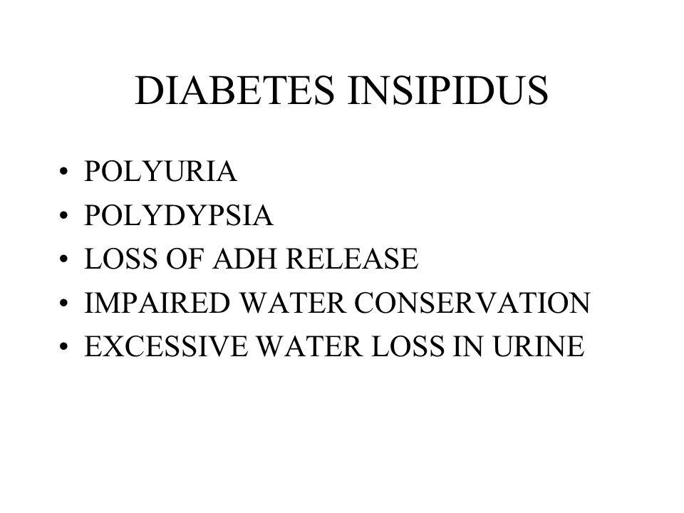DIABETES INSIPIDUS POLYURIA POLYDYPSIA LOSS OF ADH RELEASE