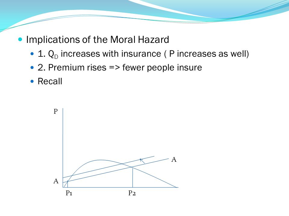 Implications of the Moral Hazard