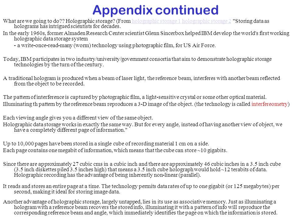 Appendix continued