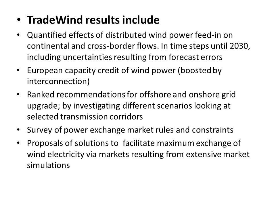 TradeWind results include