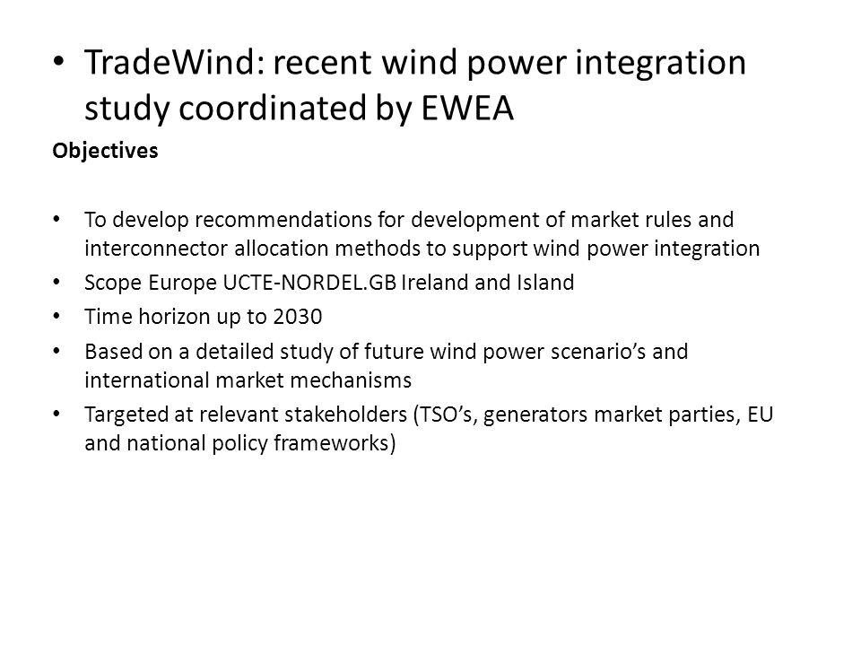 TradeWind: recent wind power integration study coordinated by EWEA