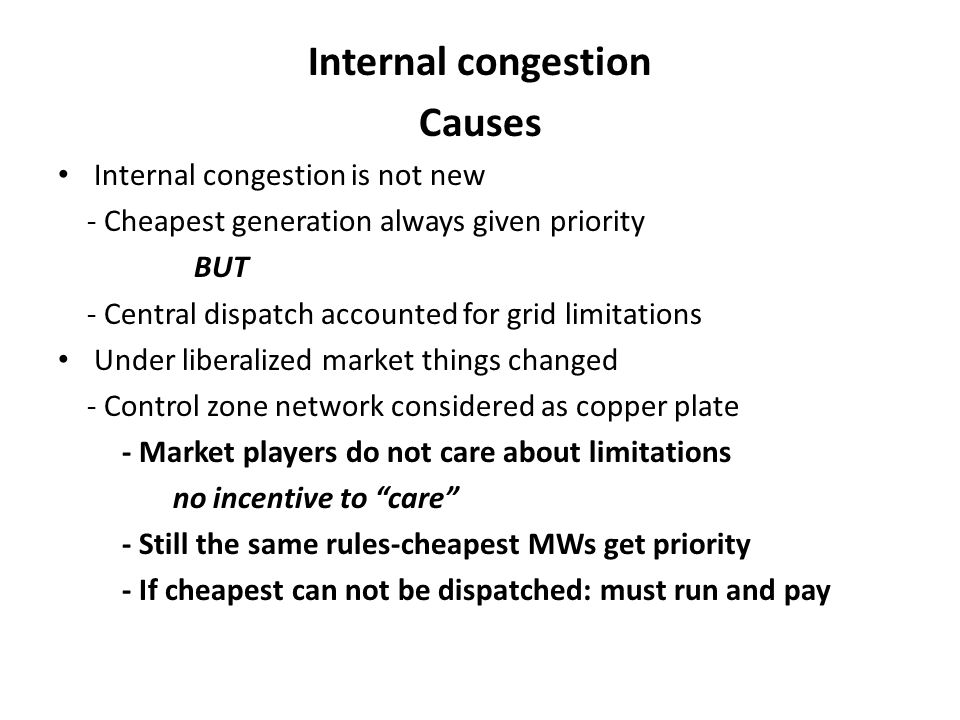 Internal congestion Causes