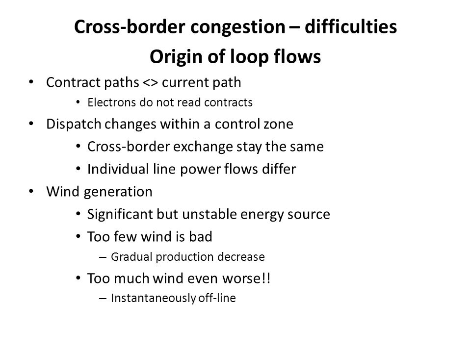 Cross-border congestion – difficulties