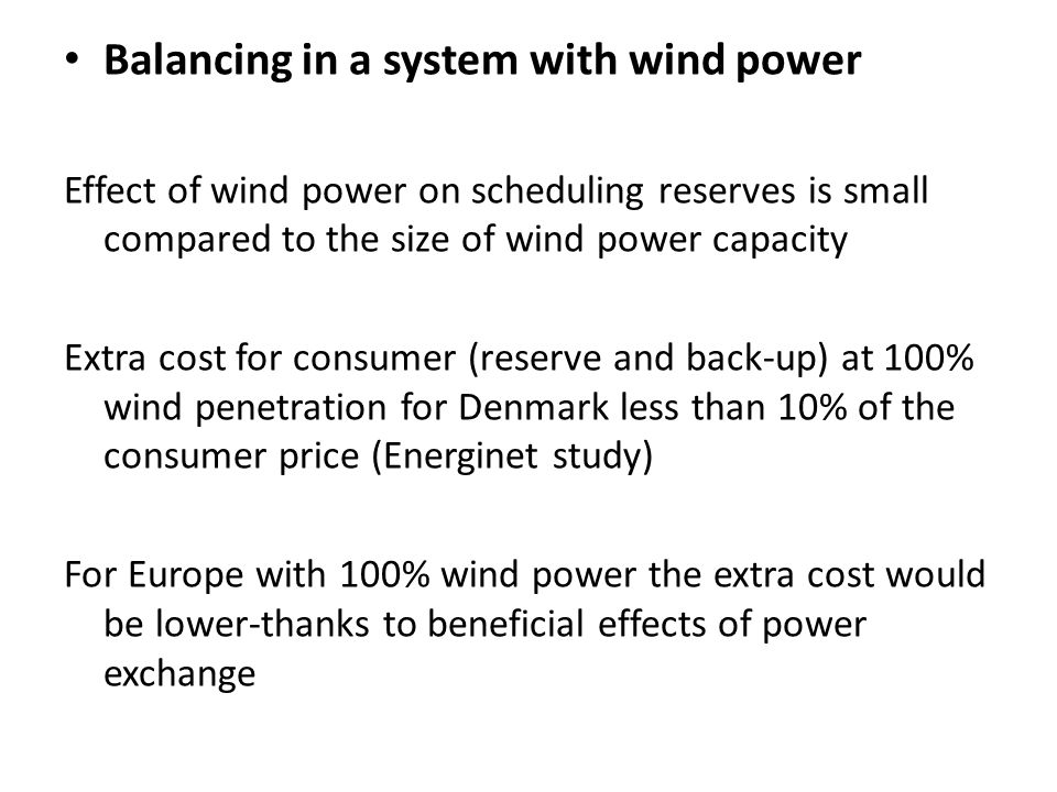 Balancing in a system with wind power