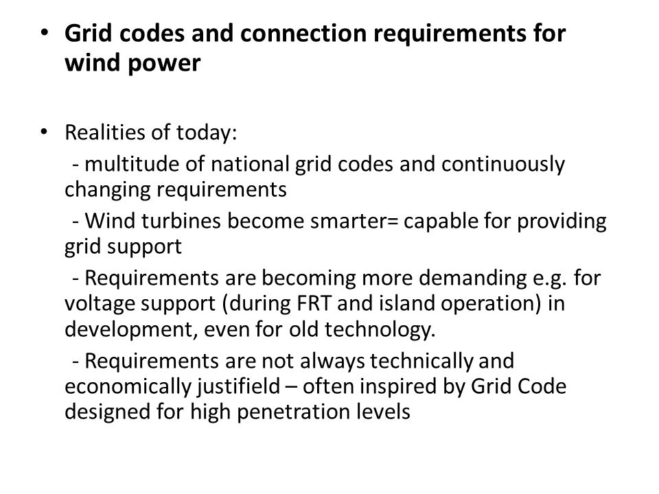 Grid codes and connection requirements for wind power